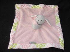 Pink Blankets & Beyond Bunny Green Gray Fluffy Plush Nunu Security Blanket Toy #BlanketsBeyond