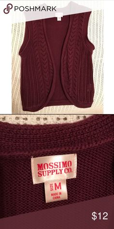 Knit vest Perfect layering vest for fall/winter/spring. From target. Not a med maybe a big small. Moving and need to get rid of. Burgundy color. Ask ?s below! 💘 Mossimo Supply Co Jackets & Coats Vests