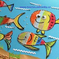 Rybičky - zajímavá technika použití olejových pastelů