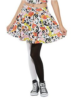 <p>Sugar, spice and everything nice. These were the ingredients chosen to create the perfect little girls. But Professor Utonium accidentally added an extra ingredient to the concoction, Chemical X, thus, the Powerpuff Girls were born!</p>  <p>Fight crime in style in this circle skirt from the Hot Topic exclusive Powerpuff Girls collection. It features a Bubbles, Blossom and Buttercup print all over. Back zipper closure.</p>  <ul> <li>94% polyester; 6% spandex</li> <li>Wash cold; dry…