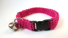 Adjustable Cat Collar Pink with Bell by BrumbysYarns on Etsy, $10.00