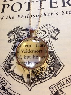 Harry Potter Voldemort Book Page Necklace by EnchantingGlass