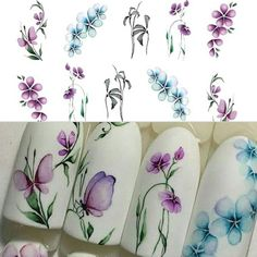 5 Sheets/Set Women's Fashion Colorful Purple Fantacy Flowers Nail Stickers Water Transfer Manicure Decals Tip Decoration Stickers For Nails Decoration Stickers, Nail Art Stickers, Nail Decals, Nail Decorations, Flower Nail Designs, Acrylic Nail Designs, Nail Art Designs, Acrylic Nails, Butterfly Nail Art