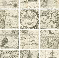 Shop for wallpaper on Etsy, the place to express your creativity through the buying and selling of handmade and vintage goods. Vintage Maps, Vintage Ephemera, Vintage Travel, Vintage Prints, Decoupage, Lion Wall Art, Map Globe, Compass Rose, Old Maps