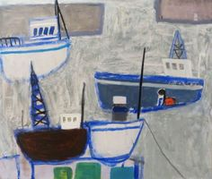 Harbour View, oil on board, by Emma McClure at Thompson's Gallery Boat Fashion, Love Boat, Sea Art, Outsider Art, Art Inspo, Art History, Folk Art, Abstract Art, Gallery