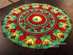 #mandala#kolam#rangoli#circle#green#red Indian Rangoli Designs, Rangoli Designs Latest, Simple Rangoli Designs Images, Rangoli Ideas, Colorful Rangoli Designs, Mehndi Images, Mehndi Designs, Welcome Home Decorations, Diwali Decorations At Home