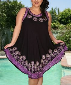 Look at this Ananda's Collection Purple Floral Batik Sleeveless Dress - Plus on #zulily today!
