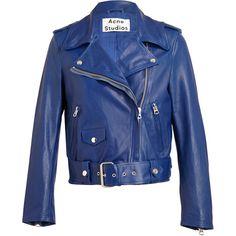 ACNE Mape Leather Biker Jacket (€665) ❤ liked on Polyvore featuring outerwear, jackets, coats, coats & jackets, leather jacket, leather biker jacket, genuine leather jackets, moto jacket, real leather jackets and biker jacket