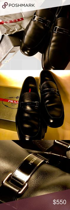 Prada Black leather Prada Loafers Linea Rossa, perfectly kept with original box, dust bag and tags, I only use Saphir Medaille D´Or products to keep them perfect, I only wore them twice, they are a little big for me. Prada Shoes Loafers & Slip-Ons