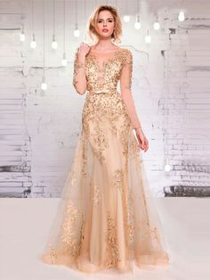 >> Click to Buy << O-Neck perspective long sleeve champagne Evening Dresses tulle Applique Beaded  Celebrity dress waist belt #Affiliate