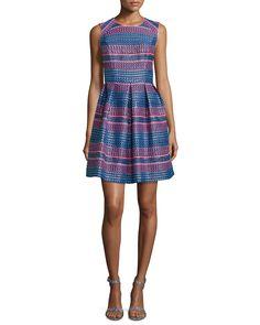 Sleeveless Stripe Fit-&-Flare Dress, Neon Stripe, Women's, Size: 12 - Shoshanna