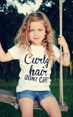 Curly hair dont care tee, curly hair dont care, toddler girl tee, girl tee, cute sayings, girls shirt