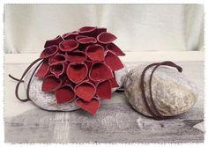 Collana con Ciondolo Pendente Boccioli di Callie in PELLE BORDEAUX Handmade Necklace Pendant Leather Made in Italy