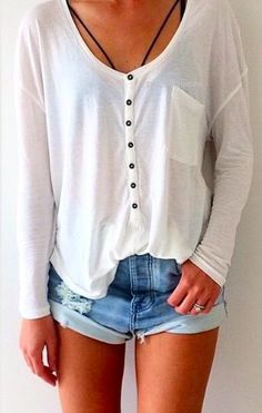 #street #style button down blouse + denim shorts @wachabuy