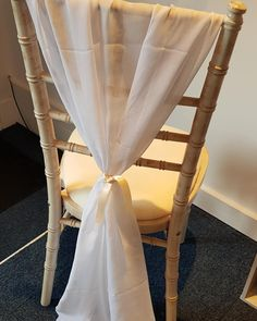 White chair drapes to finish the look of a chiavari chairs! Tied with a peach ribbon to finish the chair decor look! Chiavari Chairs, Wedding Events, Ribbon, Peach, Curtains, Home Decor, Tape, Insulated Curtains, Homemade Home Decor