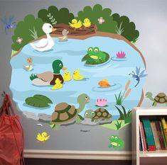 Nursery Wall Mural Duck Pond Kids Baby Room Removable Peel Stick New Kindergarten Classroom Door, Toddler Classroom, Class Decoration, School Decorations, Pond Crafts, Nursery Wall Murals, Nursery Room, School Murals, Duck Pond