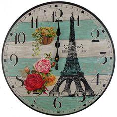 Nástenné hodiny Eiffelova veža 34cm Clock, Wall, Home Decor, Watch, Decoration Home, Room Decor, Clocks, Walls, Home Interior Design