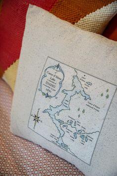 Map Pillow in Blog Cabin's Guest Bedroom