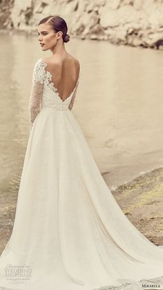 mikaella spring 2017 bridal long sleeves sweetheart neckline heavily embellihsed bodice romantic elegant a line wedding dress open low back chapel train (2118) bv