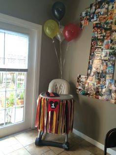 Mickey Mouse high chair decoration and 1 poster of pictures Dr Seuss Birthday Party, Mickey Mouse Clubhouse Birthday, Baby Boy First Birthday, Mickey Party, Mickey Mouse Birthday, Boy Birthday Parties, Birthday Ideas, High Chair Decorations, Mickey Mouse Decorations