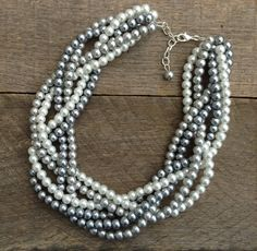 Pearl Necklace Silver Grey White Six Strand by haileyallendesigns