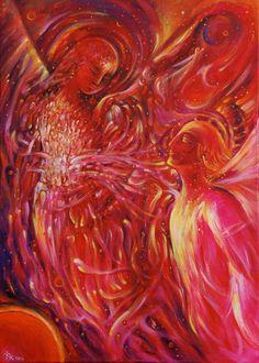 Heaven Mystery 3 - Begegnung - Engel im Universum - Modern Art Original Acryl Gemälde Leinwand 70 x 50 cm von Margarita Kriebitzsch von ArtbyMargarita auf Etsy