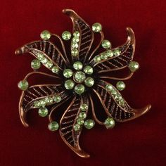 Vintage Green Rhinestone Flower Brooch JMVS015 |We combine shipping|No Question Refunds|Bid $60 for free shipping. Starting at $1