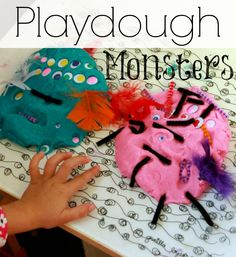 Playdough Monsters with Pipe Cleaners and Googly Eyes -- A fun kids art activity for Halloween!