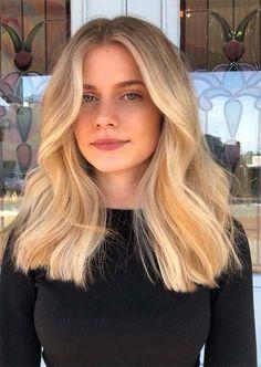 Blonde Hair Colour Shades, Hair Color Balayage, Blonde Balayage, Medium Blonde Hair, Blonde Hair Looks, Ash Blonde, Platinum Blonde, Blonde Hair With Dark Eyebrows, Blonde Lob Hair
