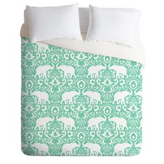 Jacqueline Maldonado Elephant Damask Hemlock Duvet Cover from Deny Designs. Saved to DENY Designs Products. #elephants #mint #decor #dreamblanket #home #omg #bedroom #bedding.