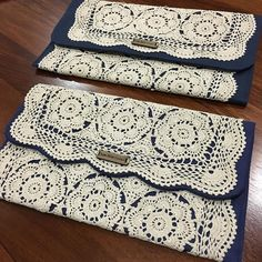 More clutches! Navy #upcycled purse clutches $45 including express postage in time for Mothers Day. 2 available.  Comment sold below and DM your details 💕  @designfindthe 💕  #handmadeinsouthaustralia #handmade #vintagestyle #recycledfinds #laceclutch