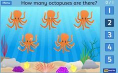 Find the treasure by counting underwater creatures. Game has 2 levels - counting to 5 and counting to 10. Tablet friendly