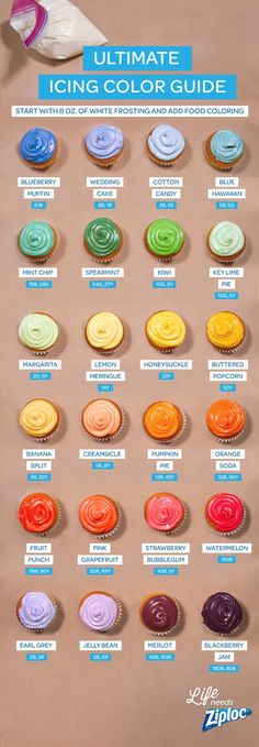 Get gorgeous cupcakes for the holidays with this easy icing color guide. The easy recipes show how many drops of food coloring you need to get the perfect color, from pale purple to bright blue. Spoon icing into a Ziploc® bag and snip the corner for bakery-perfect piping.