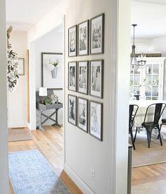 gallery wall, black and white photo wall 9 frames and photos Home Living Room, Living Room Decor, Living Spaces, Black And White Photo Wall, Interior Decorating, Interior Design, Home Decor Inspiration, Home Fashion, Diy Home Decor