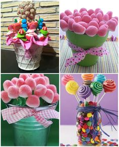 macetas de chuches Birthday Favors, Birthday Party Decorations, Birthday Parties, Candy Table, Candy Buffet, Candy Bar Bouquet, Edible Fruit Arrangements, Sweet Bar, Candy Decorations