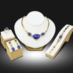 Sapphire Beads Collares Jewelry Sets for Women Wedding Bridal Pendant Statement CZ Diamond Crystal Ruby Jewelry Sieraden Sets