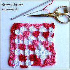granny square asimmetrica  Tutorial e schema su www.gomitolorosso.it