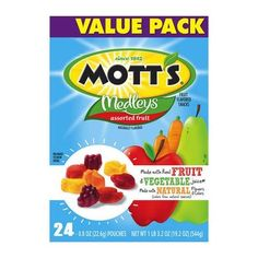 Mott's Medleys Assorted Fruit Fruit Flavored Snacks - Ingredients: Ingredients: Fruit And Vegetable Juice Blend from Concentrate (Pear, Apple, Carrot), Corn Syrup, Sugar, Modified Corn Starch. Contains 2% Or Less of: Fruit Pectin, Citric Acid, Vitamin C (Ascorbic Acid), Dextrose, Sodium Citrate, Vegetable And Fruit Juice Added For Color, Malic Acid, Potassium Citrate, Mineral Oil+, Natural Flavor, Carnauba Wax, Beeswax. +Adds A Trivial Amount of Fat.