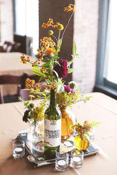 Wine Bottle Centerpieces for Wedding | wine bottle centerpiece.
