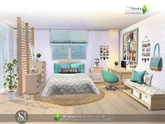 A graceful bedroom for your teen sims with a sweet touch of beauty and a pinch of glamour.  Found in TSR Category 'Sims 4 Adult Bedroom Sets'