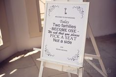 Wedding welcoming sign at Highcliffe Castle wedding ceremony. Photography by one thousand words wedding photographers