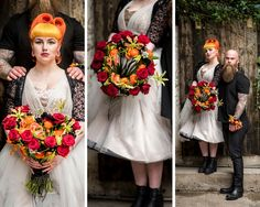 Gothic biker wedding flowers black red and orange colours open hand tied bouquet and groom cuff - Luxury and unique wedding flowers designed just for you. From bridal flowers to ceremony and reception, we offer a bespoke service for your perfect day.