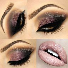 Plum, brown, and black bombshell eyes with subtle gold glitter and ballet slipper lips
