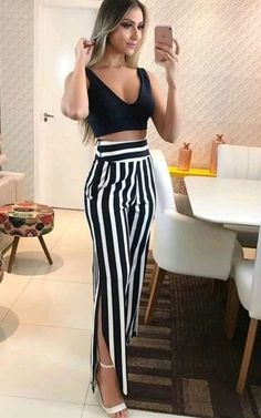 The maxi dress is striped and slim. The maxi dress features v neck and short sleeve. The maxi dress features waist tie and slit. The maxi dress is perfect for street and daily wear. Fashion Mode, Look Fashion, Womens Fashion, Ladies Fashion, Classy Outfits, Casual Outfits, Cute Outfits, Maxi Dress With Slit, Wrap Dress