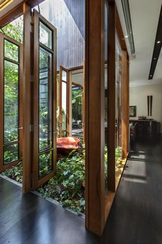 Love this house with all these wooden doors leading into a greenhouse area in the middle of the house.