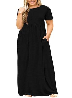 New Nemidor Women Short Sleeve Loose Plain Casual Plus Size Long Maxi Dress with Pockets (Black, Plus Size Dresses Long Sleeve Maxi, Long Sleeve Shirt Dress, Maxi Dress With Sleeves, Casual Dresses Plus Size, Casual Summer Dresses, Summer Maxi, Dress Casual, Women's Casual, Best Maxi Dresses