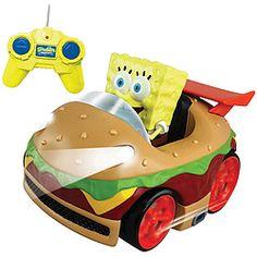 SpongeBob zips around in a wacky Krabby Patty car that you control!