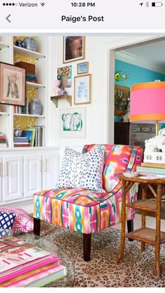 Bold and colorful Evans Chair in The Pink Clutch's One Room Challenge reveal. www.thepinkclutchblog.com
