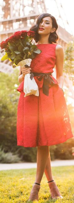 Carolina  by Gary Pepper, red dress, stunning,  women, style, outfit, clothing, fashion, flowers, summer   http://www.epicee.com