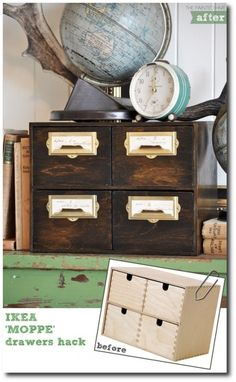 IKEA Hack...Card File Drawers- Garden Seed Storage Ideas! thepaintedhive.blogspot.ca